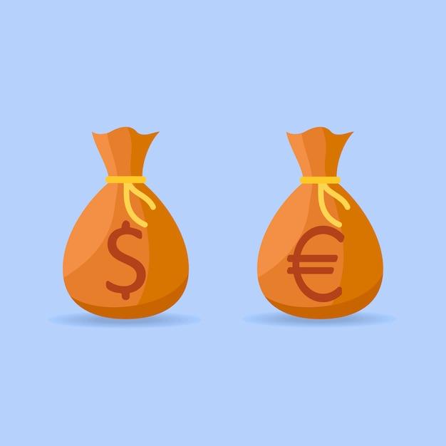 Zestaw Worków Pieniędzy Z Dolara I Euro Znak W Stylu Płaski. Premium Wektorów