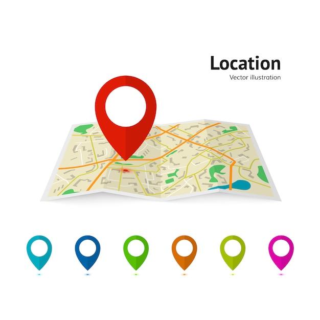 Zestaw Wskaźnika Znacznika Na Mapie. Mapa Drogowa Wskaźnika Nowoczesnego Planu. Systemy Nawigacji Gps. Premium Wektorów