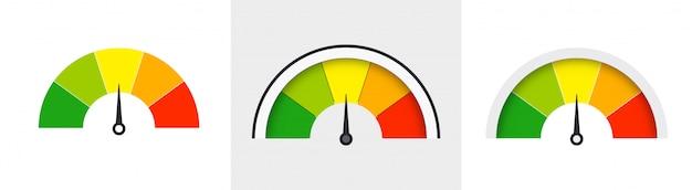 Zestaw Wskaźników Prędkościomierzy. Czujniki Koloru Do Pomiaru Prędkości I Pokrętła Mocy. Premium Wektorów