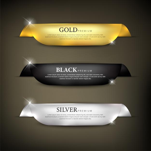 Zestaw Wstążek W Kolorze Premium Premium Wektorów