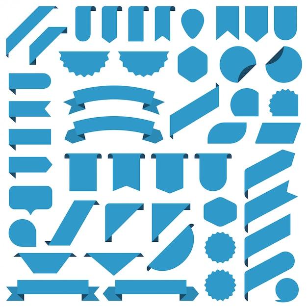 Zestaw Wstążki Niebieskie Puste Transparenty. Premium Wektorów