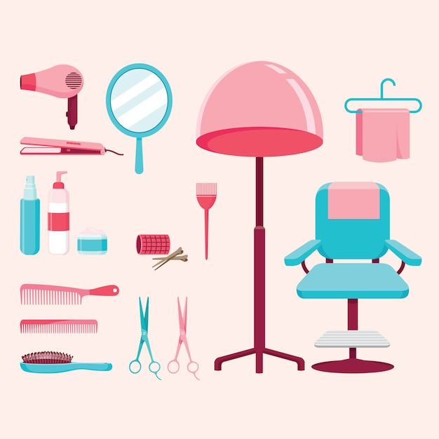 Zestaw Wyposażenia Salonu Fryzjerskiego Premium Wektorów