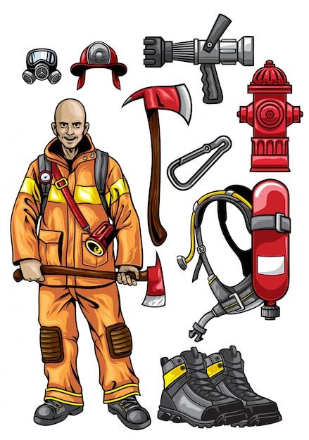 Zestaw wyposażenia strażackiego Premium Wektorów
