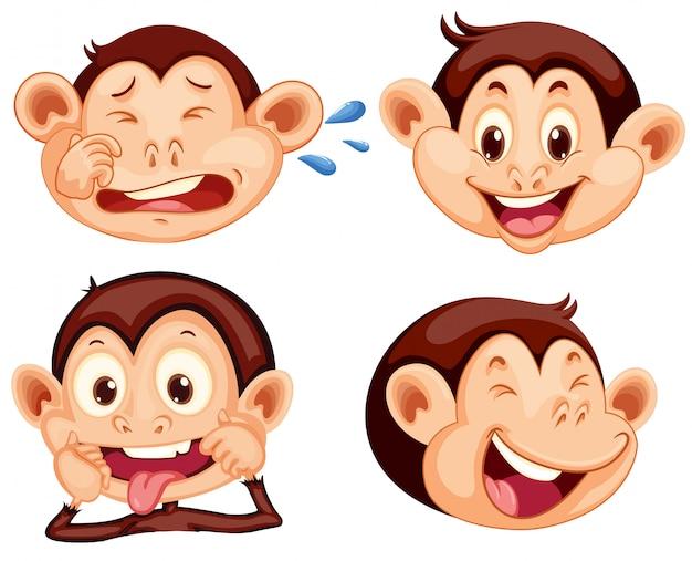 Zestaw wyraz twarzy małpy Darmowych Wektorów