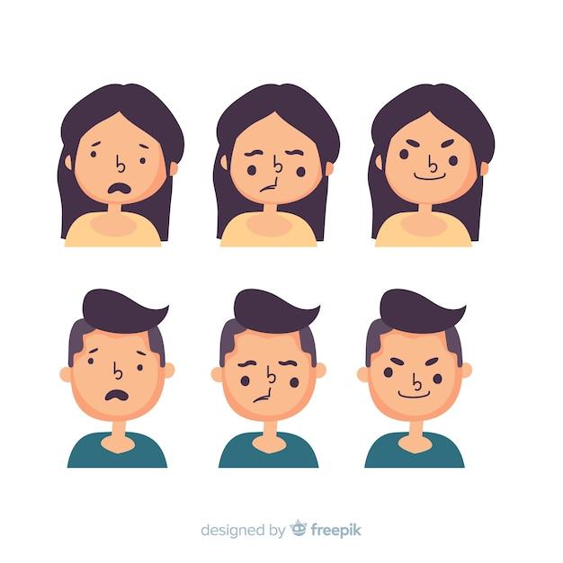 Zestaw wyrazu twarzy różnych emocji Darmowych Wektorów