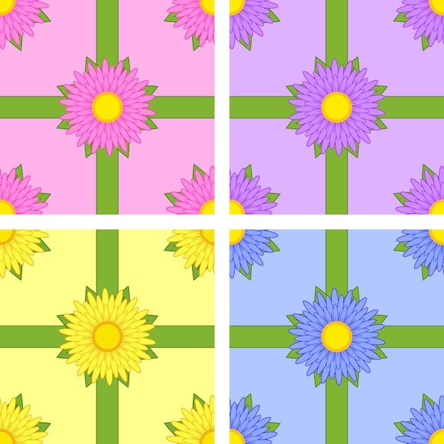 Zestaw Wzór Kwiatów Odmian Aster Różowy, żółty, Niebieski, Fioletowy Z Zielonymi Wstążkami Na Kolor Tła Premium Wektorów