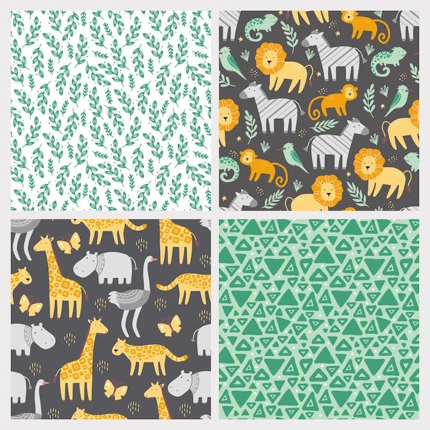 Zestaw Wzór Z Słodkie Afrykańskie Zwierzęta W Ogrodach Zoologicznych. Premium Wektorów