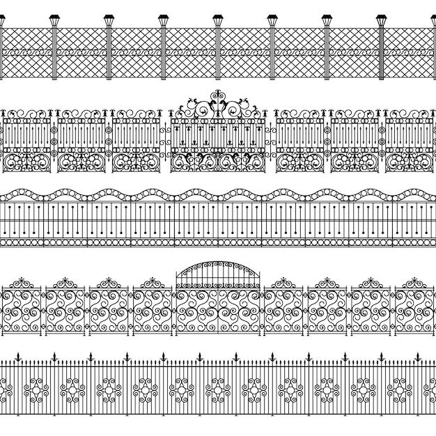 Zestaw wzorców granicy ogrodzenia Darmowych Wektorów