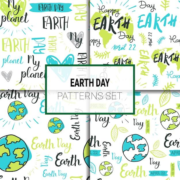 Zestaw wzorców międzynarodowy dzień ziemi Premium Wektorów