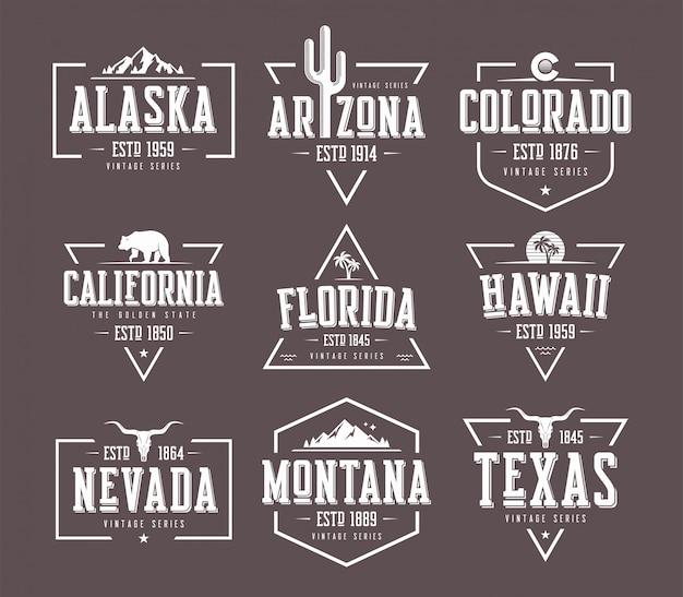 Zestaw Wzorów Koszulki I Odzieży W Stylu Amerykańskim, Znaczek Premium Wektorów