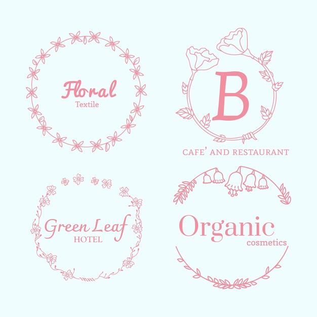 Zestaw wzorów kwiatowych logo Darmowych Wektorów