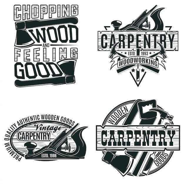 Zestaw Wzorów Logo Vintage Do Obróbki Drewna, Znaczków Z Nadrukiem Folwarcznym, Kreatywnych Emblematów Typografii Stolarskiej, Premium Wektorów