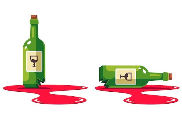 Zestaw Z Butelką Rozbitego Wina. Kałuża Alkoholu. Uszkodzenie Sklepu. Mieszkanie Na Białym Tle. Premium Wektorów