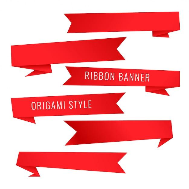Zestaw z czerwoną wstążką w stylu origami Darmowych Wektorów