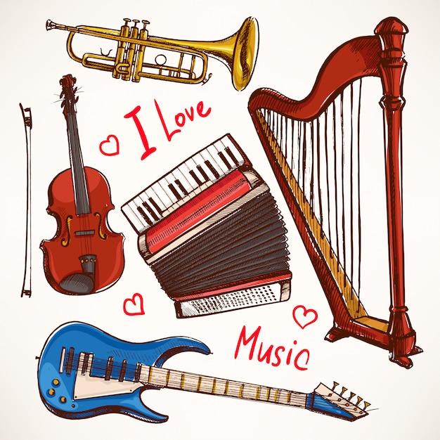 Zestaw Z Instrumentami Muzycznymi. Akordeon, Skrzypce, Gitara Basowa. Ręcznie Rysowane Ilustracji. Premium Wektorów