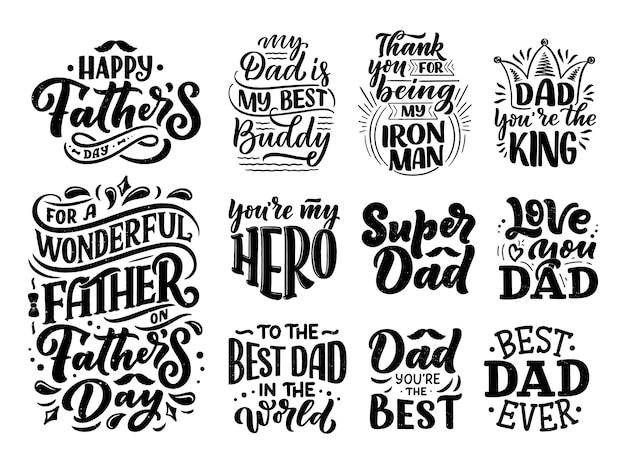Zestaw Z Napisem Na Kartkę Z życzeniami Na Dzień Ojca Premium Wektorów