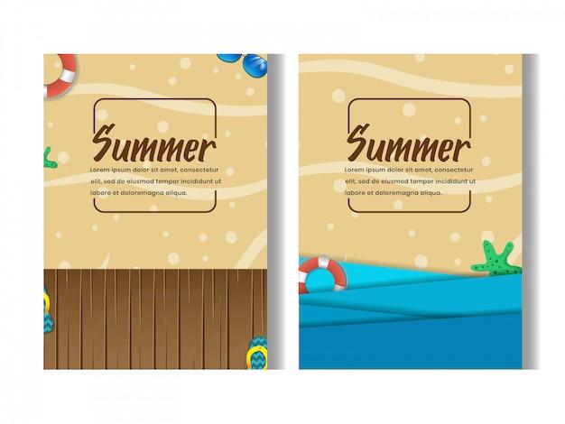 Zestaw Z Plaży Latem Party Flyer Szablon Projektu Premium Wektorów