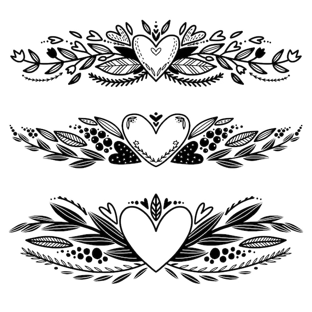 Zestaw Z Ręcznie Rysowane Miłość Dekoracyjne Obramowania