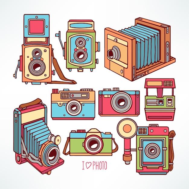 Zestaw Z Różnymi Kolorowymi Kamerami Vintage. Ręcznie Rysowane Ilustracji Premium Wektorów
