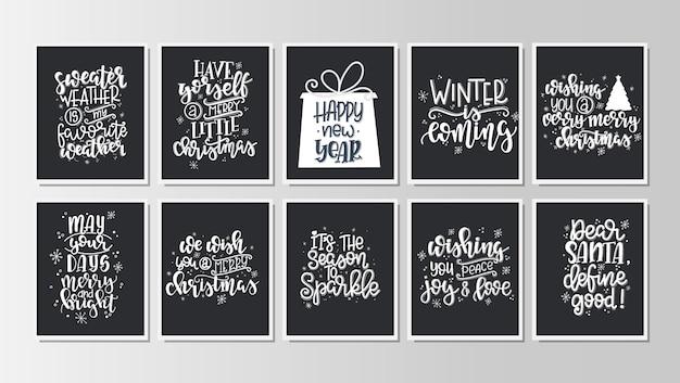 Zestaw Z Tagami I Kartami Upominkowymi Z Kaligrafii Wesołych świąt I Szczęśliwego Nowego Roku. Napis Odręczny. Premium Wektorów