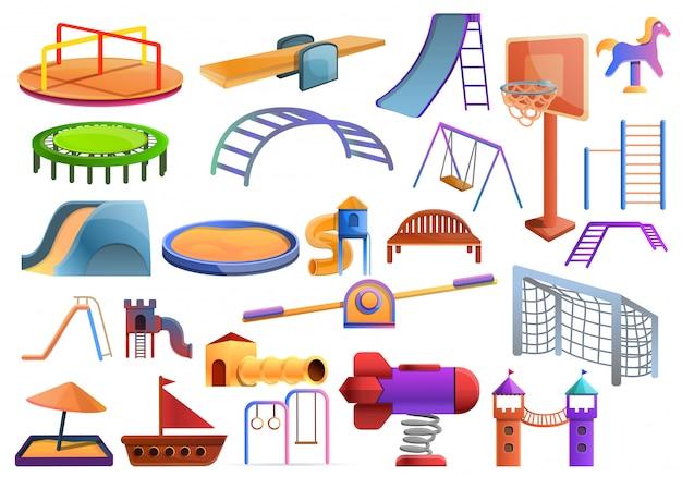 Zestaw Zabaw Dla Dzieci, Stylu Cartoon Premium Wektorów