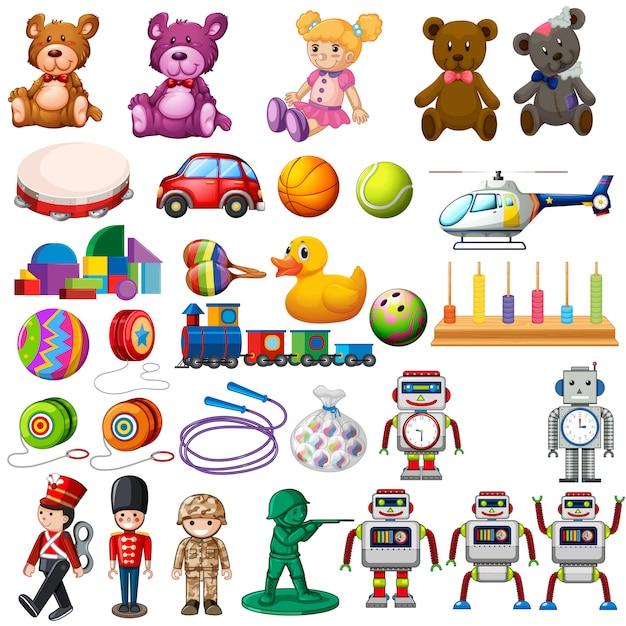 Zestaw Zabawek Dla Dzieci Premium Wektorów