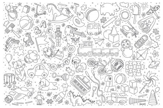Zestaw Zabawek Doodle Premium Wektorów