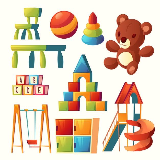 Zestaw zabawek z kreskówek dla dzieci plac zabaw, przedszkole. Darmowych Wektorów