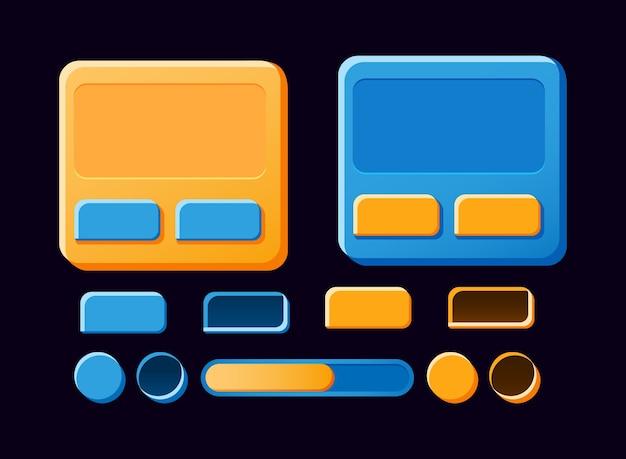 Zestaw Zabawnej Planszy Gui, Pop-up, Przycisków Do Elementów Zasobów Interfejsu Gry Premium Wektorów