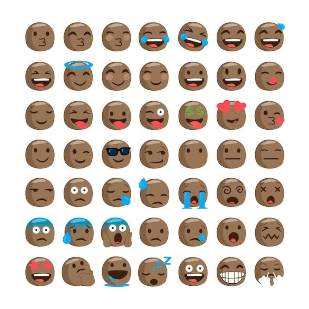 Zestaw zabawnych czarnych emoji. Premium Wektorów