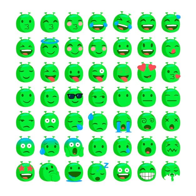 Zestaw zabawnych emoji obcych twarzy. Premium Wektorów