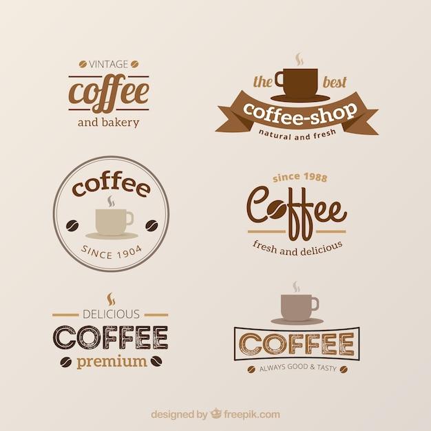 Zestaw zabytkowe logo dla kawiarni Darmowych Wektorów