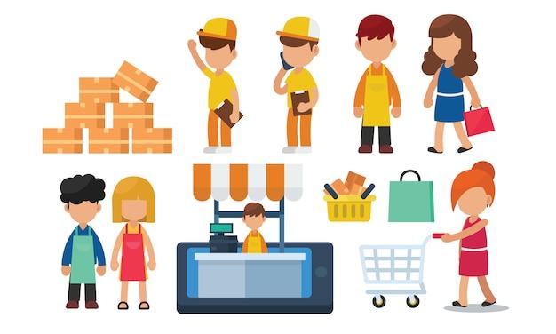 Zestaw zakupy online, e commerce, koncepcja dostawy z charakterem Premium Wektorów