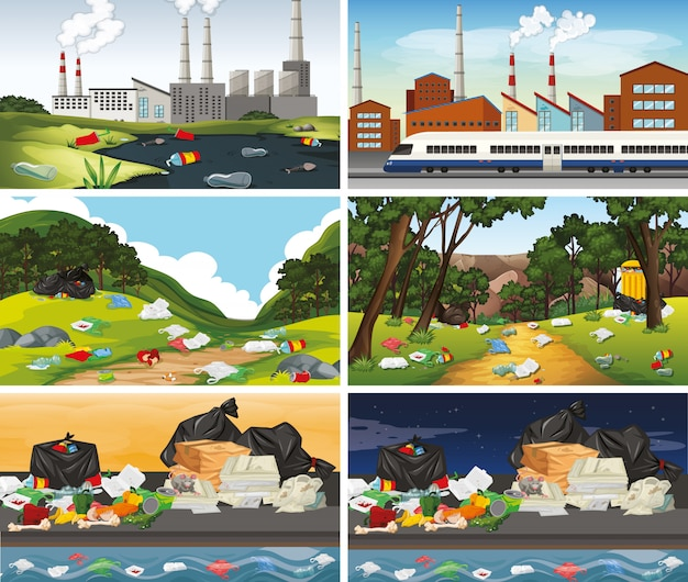 Zestaw Zanieczyszczonych Scen Darmowych Wektorów