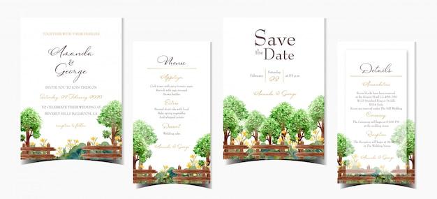 Zestaw Zaproszenia ślubne Z Letnich Drzew I Kwiatów Premium Wektorów