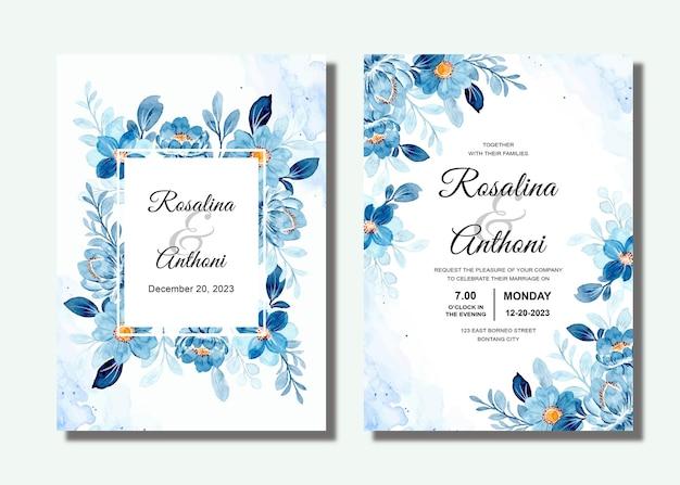 Zestaw Zaproszenia ślubne Z Niebieskim Akwarelą Kwiatowy Premium Wektorów
