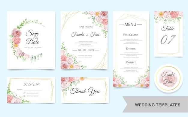 Zestaw zaproszenia ślubne z różowymi kwiatami Premium Wektorów