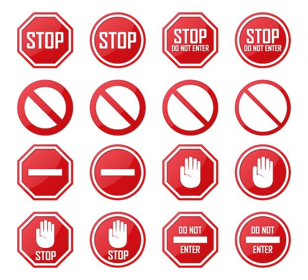 Zestaw Zatrzymania, Zakaz Wjazdu, Zabronione Ikony Premium Wektorów