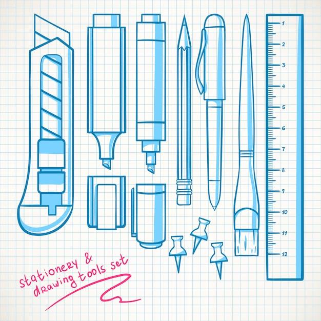 Zestaw Zawiera Różne Artykuły Papiernicze. Ołówki, Flamastry, Nóż Biurowy Premium Wektorów