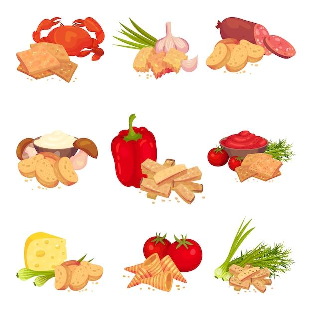Zestaw Zdjęć Kromek Grzanek Z Różnymi Produktami. Papryka, Krab, Czosnek, Salami, Pieczarki, Ser, Pomidor. Premium Wektorów