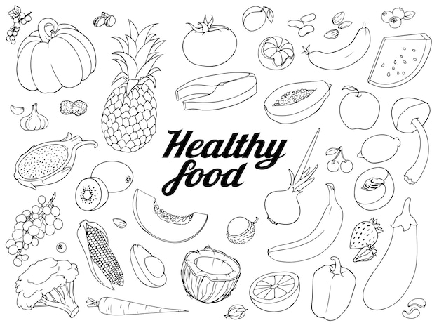 Zestaw Zdrowej żywności. Ręcznie Rysowane Szorstkie Proste Szkice Różnych Rodzajów Warzyw I Jagód. Odręczna Ilustracja Na Białym Tle. Premium Wektorów