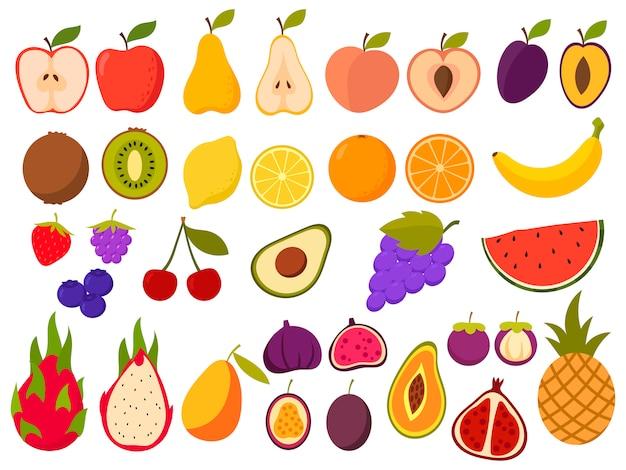 Zestaw Zdrowych Owoców. Zbiór Soczystych Naturalnych Owoców Tropikalnych. Produkty Organiczne. Premium Wektorów