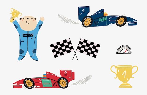 Zestaw Ze Słodkim Misiem Wyścigowym I Samochodami Wyścigowymi Premium Wektorów