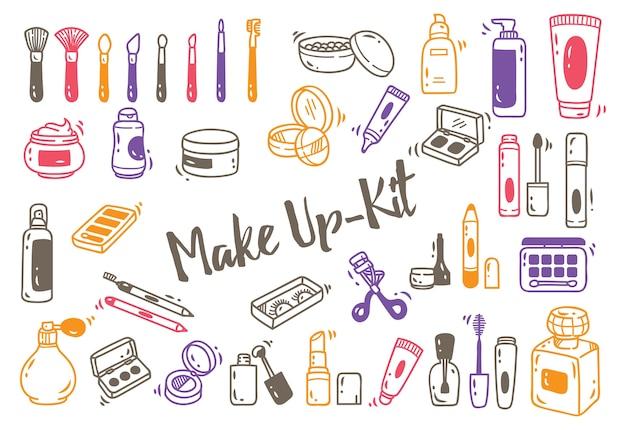 Zestaw Zestaw Do Makijażu Doodle Premium Wektorów