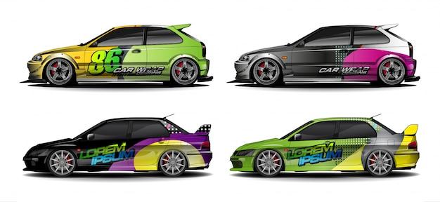 Zestaw Zestawu Graficznego Pojazdu. Nowoczesne Abstrakcyjne Tło Dla Brandingu Okładów Samochodowych I Barwienia Naklejek Samochodowych Premium Wektorów