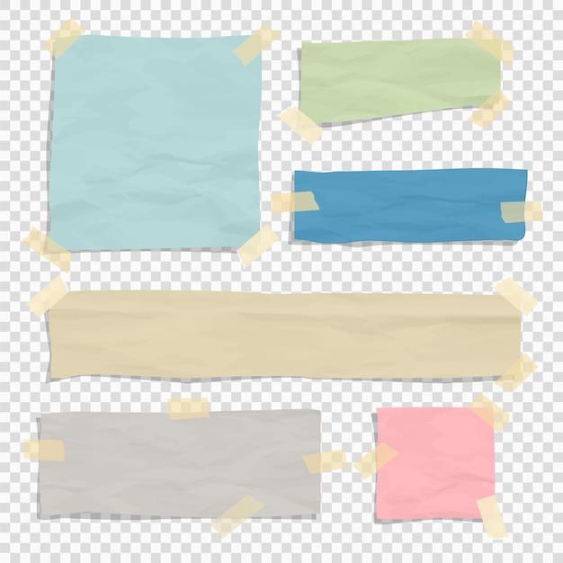 Zestaw zgranych kawałków papieru Premium Wektorów