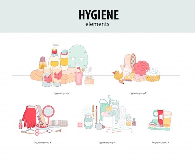 Zestaw zgrupowanych elementów higienicznych Premium Wektorów