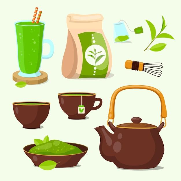 Zestaw Zielonej Herbaty Matcha Premium Wektorów