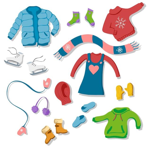 Zestaw zimowych ilustracji odzieży w stylu płaski Premium Wektorów