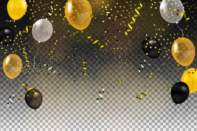 Zestaw Złota, Czarna, żółta, Biała Kula Helu Na Białym Tle W Powietrzu. Szablon Tło Uroczystości Z Balonów, Konfetti I Wstążki Na Przezroczystym Tle. Ilustracja. Premium Wektorów